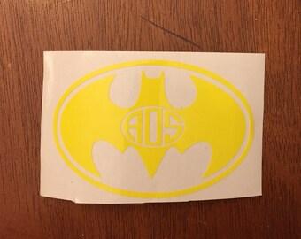 Monogram Batman Decal, Batman Monogram Decal, Monogrammed Batman Decal, Batman Decal