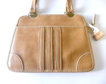 Vintage Camel Leather Double Compartment Handbag