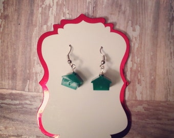 Monopoly earrings/ upcycled game piece earrings. Green house earrings.