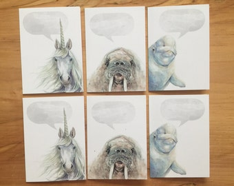 Animal Blank Set - 6 Cards