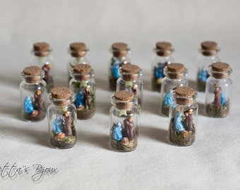 Nativity, miniature Nativity in glass flask