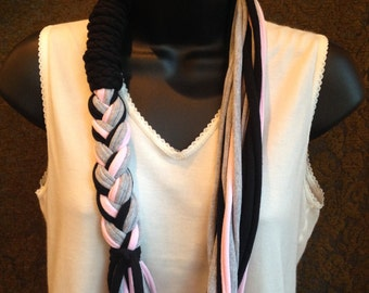 upcycled braided t shirt necklace