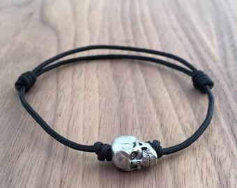 Metal Alloy Single Skull Adjustable Sliding Knot Black Nylon Cord Handmade Bracelet