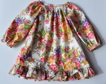Girls Seaside long sleeve dress with ruffle hem