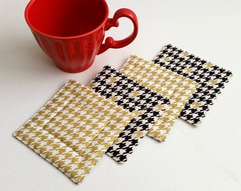 Fabric Coasters - Houndstooth Coasters - Set of 4