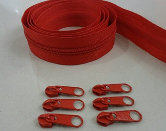 3 Yards, Zipper#5 with Free 6 Pulls, Red Zipper by the Yard, Zipper # 5, Zipper by the Yard.