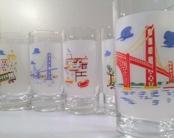Mid-Century Rare San Francisco Scenic 6-Piece Glass Set (Set of 6)