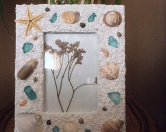 Beach Frames with shells and seaglass