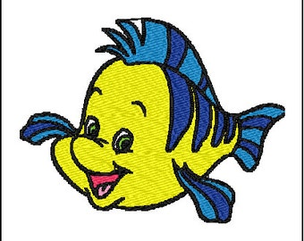 Flounder Little Mermaid Embroidery Design