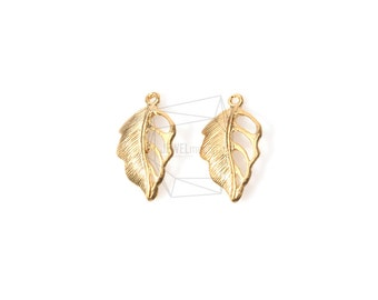 PDT-582-MG/4pcs/Textured Leaf Charm/10mm x 18mm/Plated Over Brass