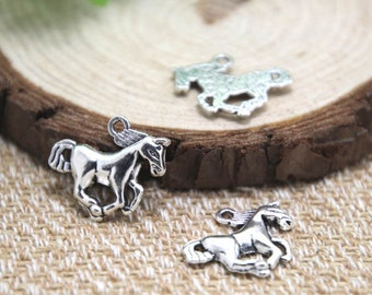 20pcs--Galloping Horse Charms, Antique silver Lovely Horse Charm Pendant 16x21mm D1615