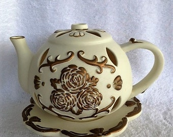 Porcelain Candle Holder Teapot