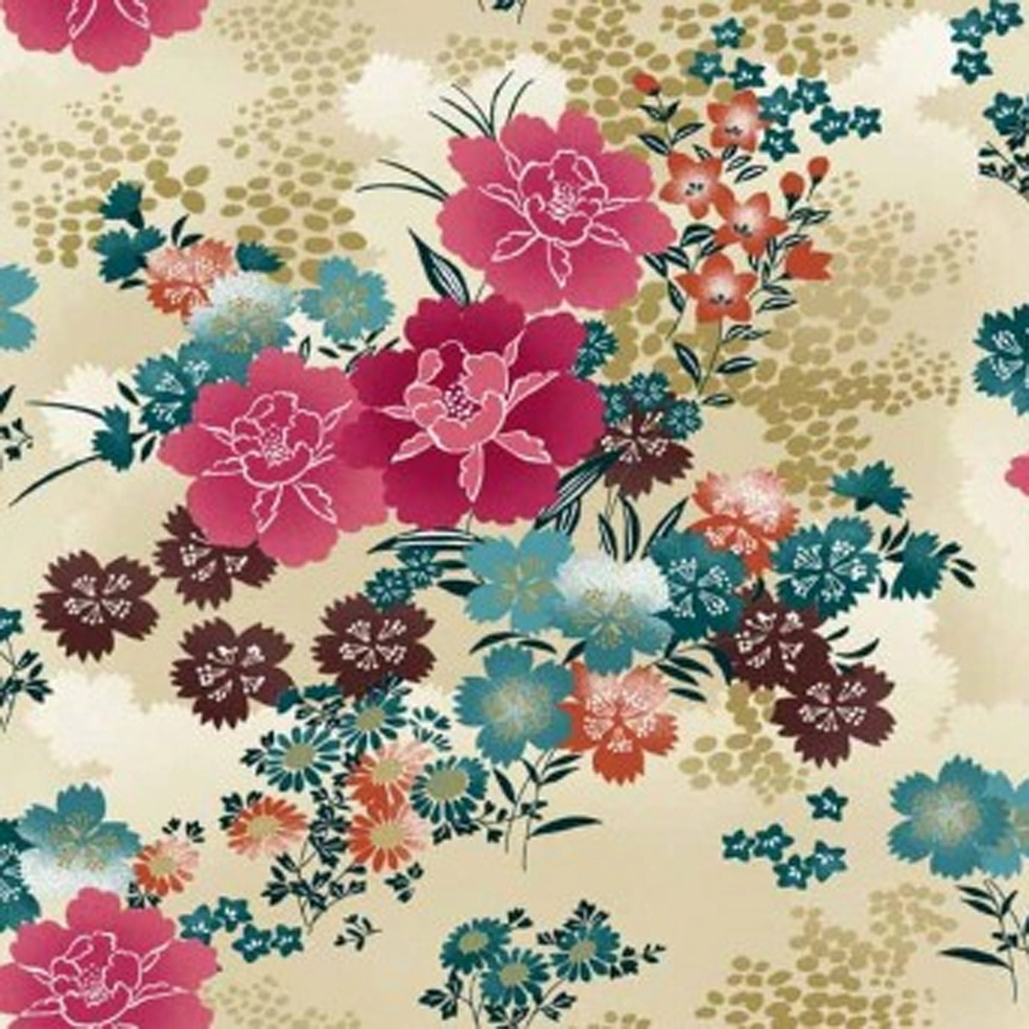 Flower Japanese Floral Print Asami Cotton Fabric by Makower