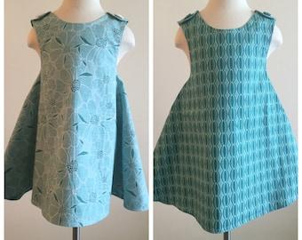 SWEET PEA dress- Retro REVERSIBLE toddler pinafore- 2-3T