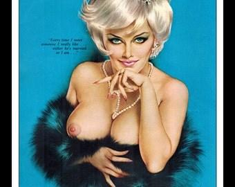"Vargas Playboy Pinup Girl Vintage November 1963 ""Married.."" Sexy Blonde Nude Mature Black Fur Necklass  Pinup Wall Art Deco Print"