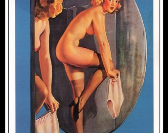 "Gil Elvgren Vintage Pinup Illustration ""Over Exposure"" Sexy Pinup Mature Wall Art Deco Book Print 5.5"" x 4"""