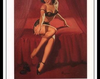 "Gil Elvgren Vintage Pinup Illustration ""I'm Not Shy...I'm Just Retiring 1950"" Sexy Pinup Mature Wall Art Deco 1995 Book Print 9 3/4"" x 14"""