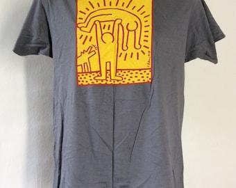 Vtg 1984 Keith Haring The Human Condition T-Shirt Gray M 80s San Francisco MOMA Art