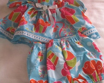 "Adorable handmade dress with matching panties. Fits 15-16"" Dolls"