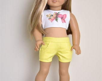 Yellow shorts 18 inch doll clothes American made doll clothes