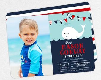 Nautical Birthday Invitation, Photo Birthday Invitation PDF, Printable Birthday Invitation, Boy Invitation, Whale, Red and Navy, Ahoy