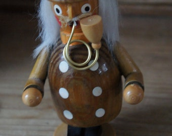 Vintage Wooden Old Man With Beard, Pipe And Top Hat Incense Burner Erzgebirge Collectibles Steampunk