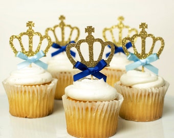 12 Little Prince Gold glitter crown, gold crown cupcake toppers, birthday decorations