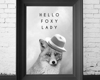 fox photography art print, hello foxy lady, gift for her, art print for her, fox print, fox art, fox photography, foxy lady print, for her