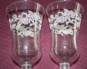 Etched Vintage Glass Votives