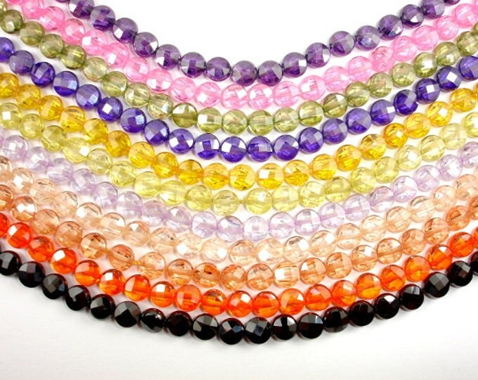 Cubic Zirconia Beads, CZ bead, 6 mm Faceted Coin Beads, 6 Inch, 1 strand, 25 beads, Hole 0.8 mm, A quality (CS0606)