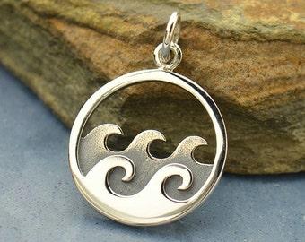 Sterling Silver, Ocean Wave, Ocean Pendant, Wave Pendant, Silver Ocean Charm, Silver Wave Charm, By the Sea Charm, Ocean Jewelry