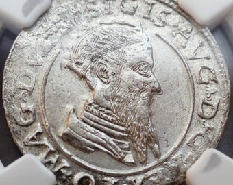 Year 1568, Poland Polish Lithuania, Silver 4 Gross Groschen, Medieval Europe Very Rare Old Antique Coin NGC