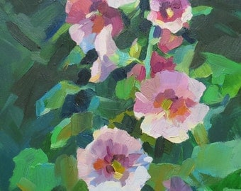 "Flower Oil Painting - ""Mallows"" - 13,7""x9,8"""