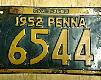 Authentic 1952 Pennsylvania license plate