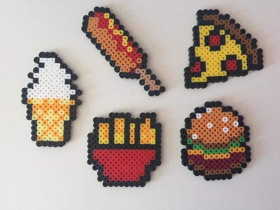 fast food hamburger fries pizza corn dog ice cream perler