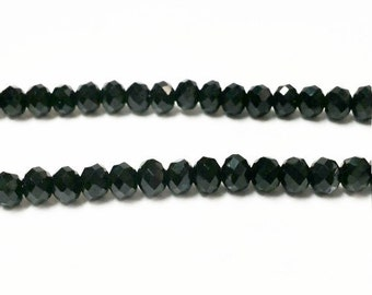 95 Black 2x3mm  faceted glass beads, Suncatcher Beads, Spacer Bead, rondelle beads, R32