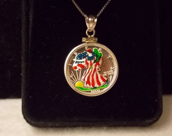 1/10 oz American Eagle .999 Fine Silver Hand Painted year 2000 Pendant