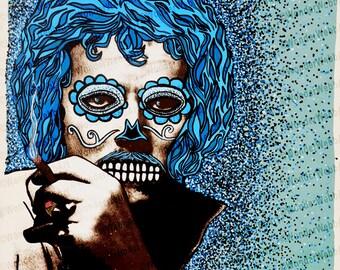 12x12 Lite Pies Sobre El Azucar (Lite feet on sugar) Sugar Skull Day of the Dead Dia De Los Muertos Art Print