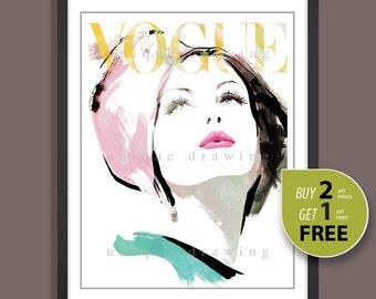 Fashion Print, Fashion Illustration, fashion art, fashion wall art, Vogue print, Vogue poster, Vogue magazine cover, Vogue wall art, 3241