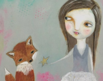Girl and Fox Print