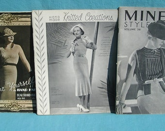 Vintage Minerva Style Book 1930s Knitting Crocheting Books Magazines