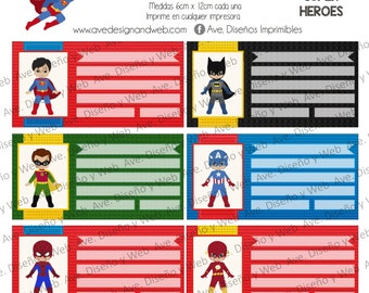 Super Heroes Marvel Labels for Notebooks, Superman Labels for Books, Spider Man Labels, Batman Labels for School