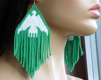 White and Green Earrings. Dangle Earrings. Native American Beaded Earrings Inspired. Extra Large Earrings. Big Earrings. Beadwork