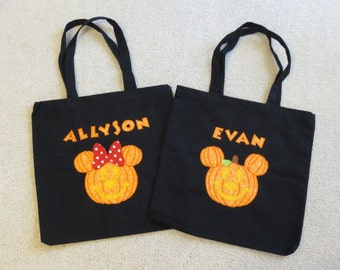 MiCKeY Minnie HALLOWEEN PuMPKIN Custom Boutique TRicK or TReaT Bag