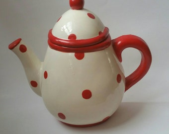 Red Polka Dot Teapot Hanging Canister, Tea Bag Canister, Tea Bag Holder, Hanging Canister