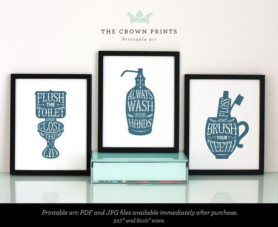 Bathroom Printables Set Of 3 Flush The By Thecrownprints On Etsy