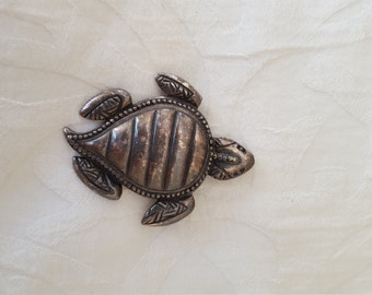 Signed  NEWPRO TURTLE Pewter BROOCH Pin