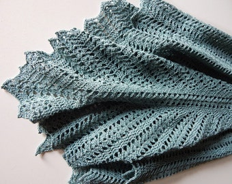 Crochet cotton summer shawl, crochet cotton lace wrap, knitted cotton shawl, knitted cotton wrap, grey-blue shawl