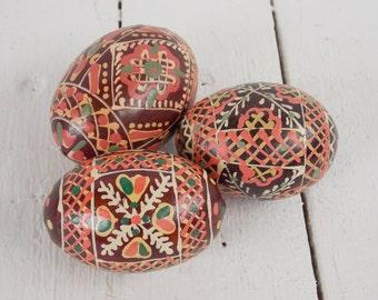 Traditional pysanka Easter egg Wooden eggs Handpainted egg Easter gift Ukrainian souvenir Vintage folk art Colorful Decor Pisanki eggs