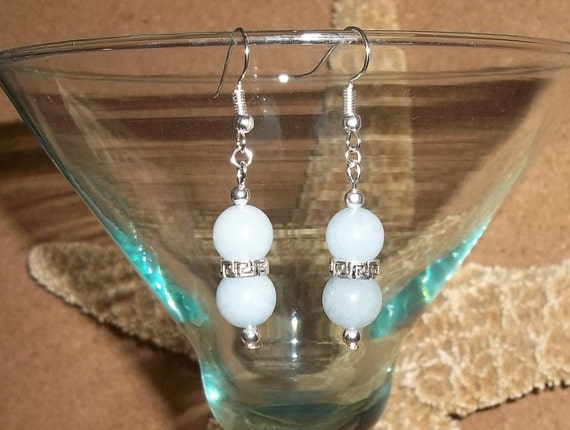Natural Aquamarine Beaded Silver Hand Crafted Drop Dangle Earrings